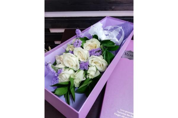 "Цветы в коробке ""Сиреневый туман"""